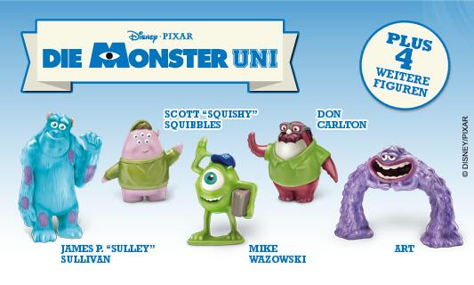 Ferrero Kinder Joy mit den Figuren aus der Monster Uni. Die Monster AG geht auf den Campus. Günstige Figuren bei Ebay.