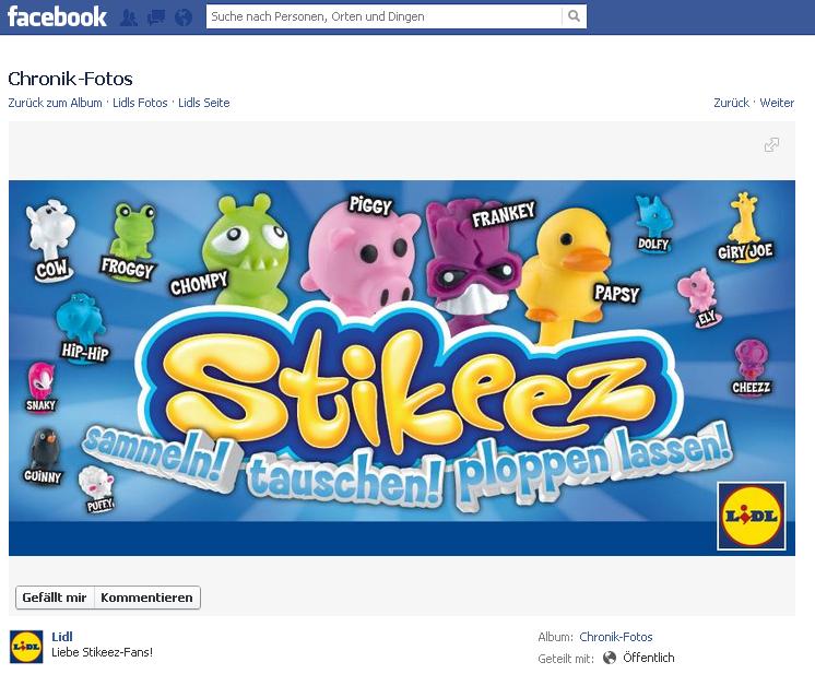LIDL kündigt Nachlieferung bei Stikeez Sammelfiguren auf Facebook an. Stikeez werden käuflich!
