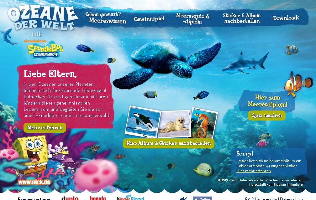 Ozeane der Welt Sammelaktion. Mit Spongebob die Sticker aus Duplo, Kinderriegel & Hanuta sammeln.