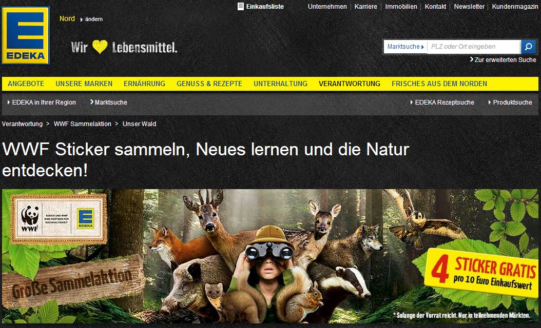 """""""Unser Wald"""" Sammelsticker bei Edeka! Edeka WWF Sammelbilder zum Thema Lernen und Natur."""