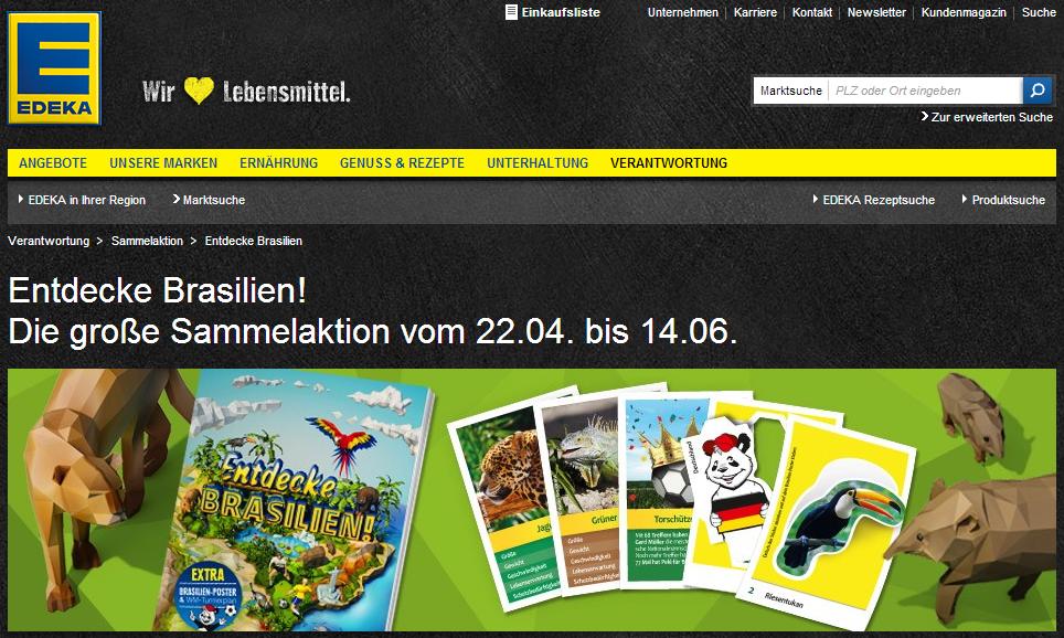"""""""Entdecke Brasilien"""" Sammelsticker und Sammelalbum. Die große EDEKA Sammelaktion Brasilien zur Fußball WM 2014!"""
