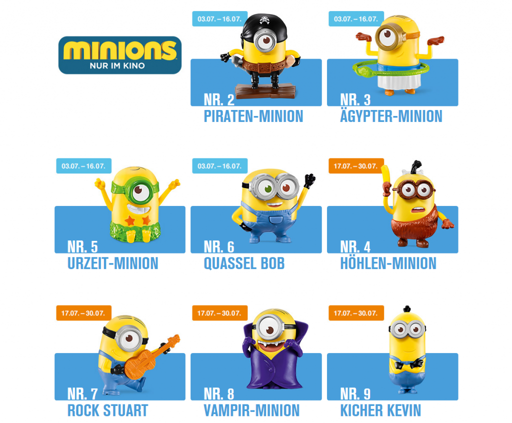 Happy Meal Minons – Minions Spielzeugfiguren im McDonald's Happy Meal
